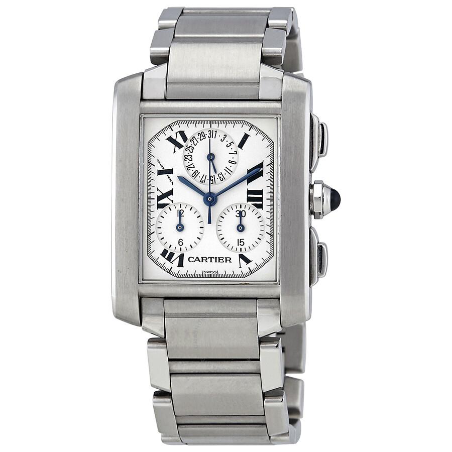 Pre-owned Cartier Tank Francaise Chronoflex White Dial Quartz Men's Watch  2303 ...