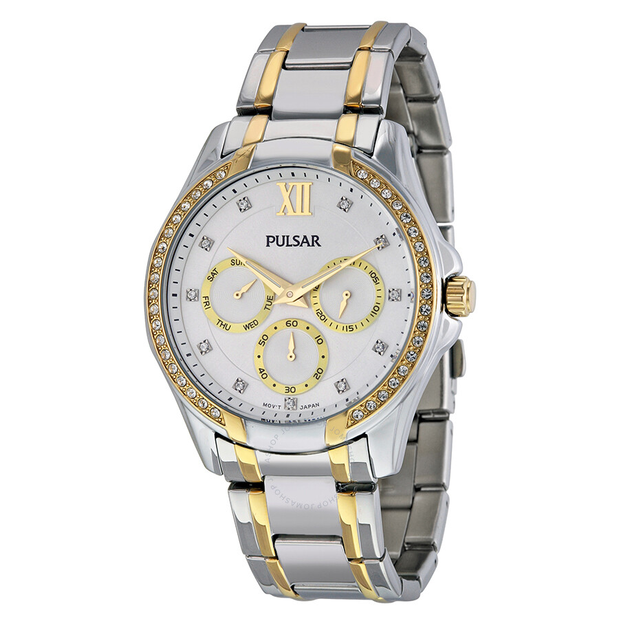 Pulsar Silver Dial Two- tone Stainless Steel Ladies Quartz Watch PP6100 ... d5570d54008