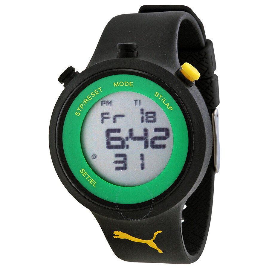 Puma go grey digital black silicone men 39 s watch pu910901007 puma watches jomashop for Watches digital