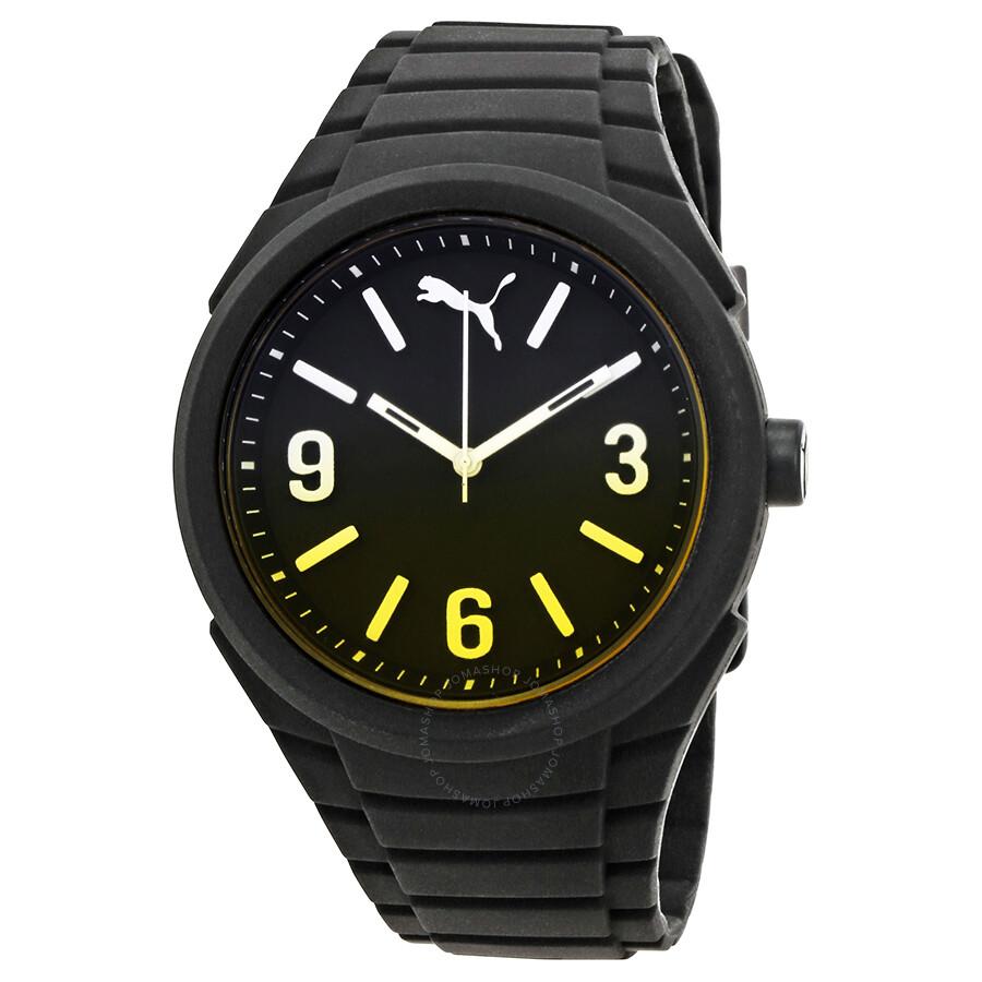puma watches jomashop puma gummy black dial black silicone men s watch