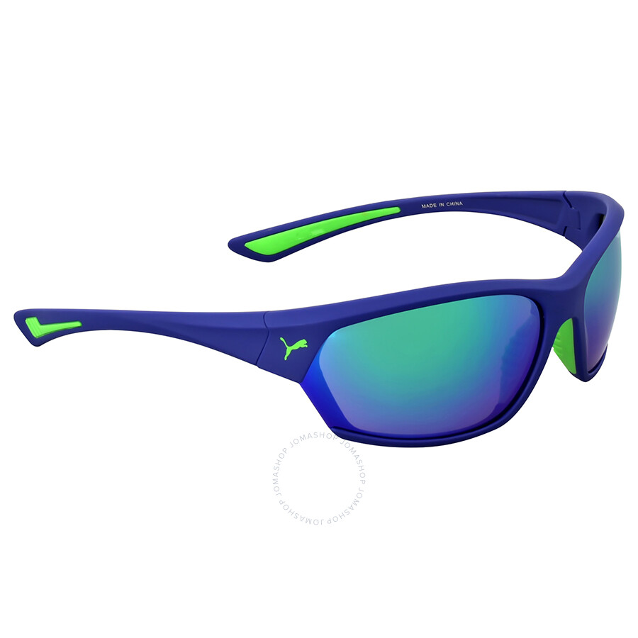 42b7c36e1d Puma Matte Blue Green Mirror Sports Sunglasses - Puma - Sunglasses ...