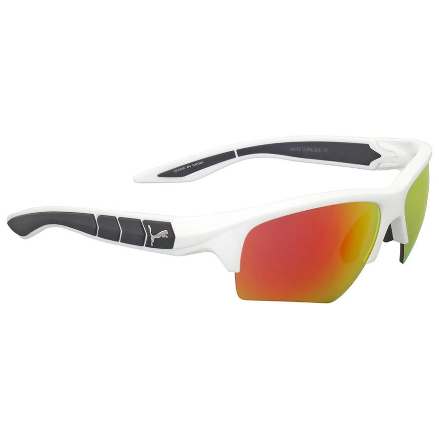 Puma PU0056S Sonnenbrille Weiß und Orange 004 66mm X0dm9G