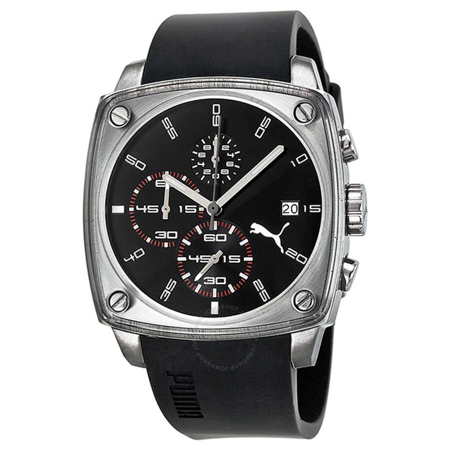 516a724cb0f3 Puma Shade L Chronograph Black Dial Black Rubber Unisex Watch PU102591002  ...