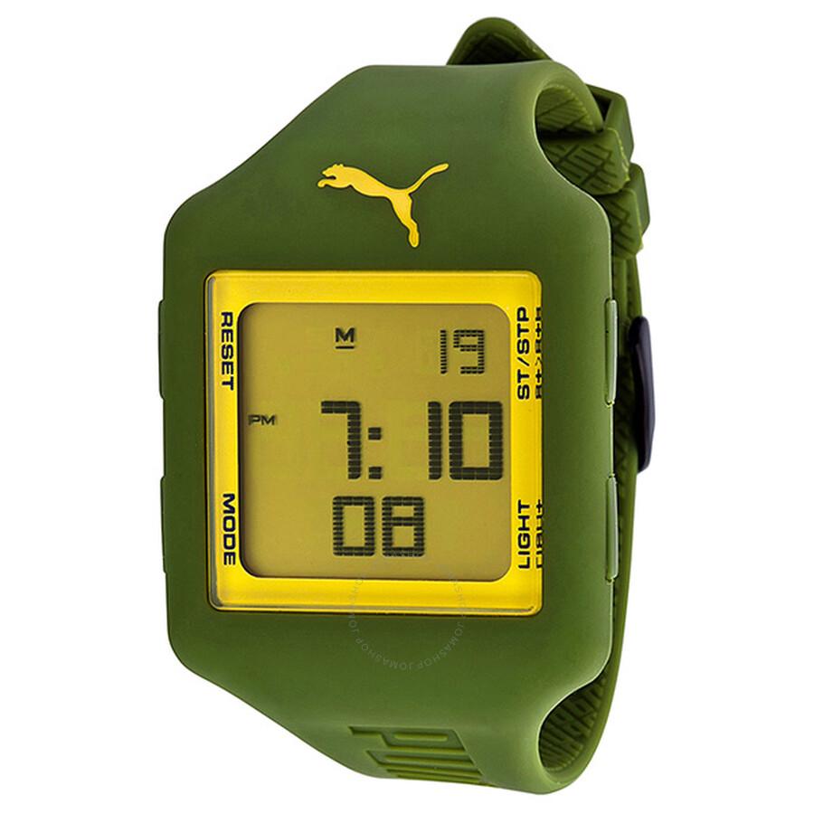 Puma Slide L Green Digital Green Silicone Unisex Watch PU910791006