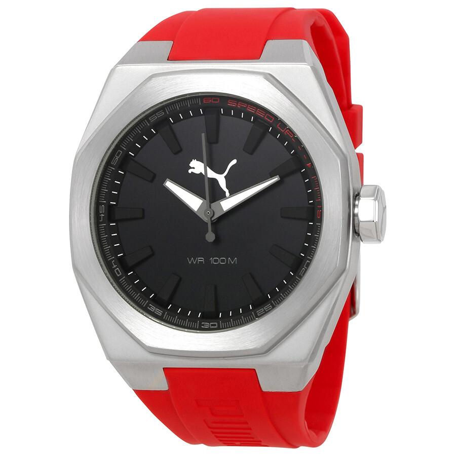 Puma victory black dial men 39 s rubber watch pu104051006u puma watches jomashop for Rubber watches