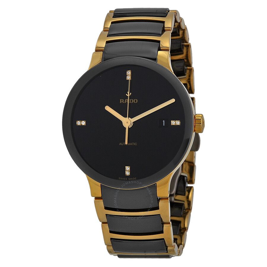 rado centrix black gold plated and black ceramic