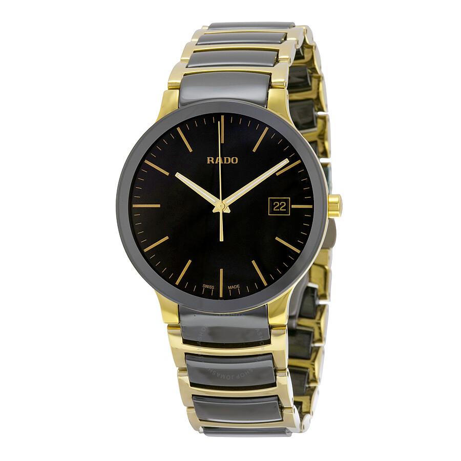 Rado centrix black dial gold pvd black ceramic men 39 s watch r30929152 centrix rado watches for Ceramic man watch