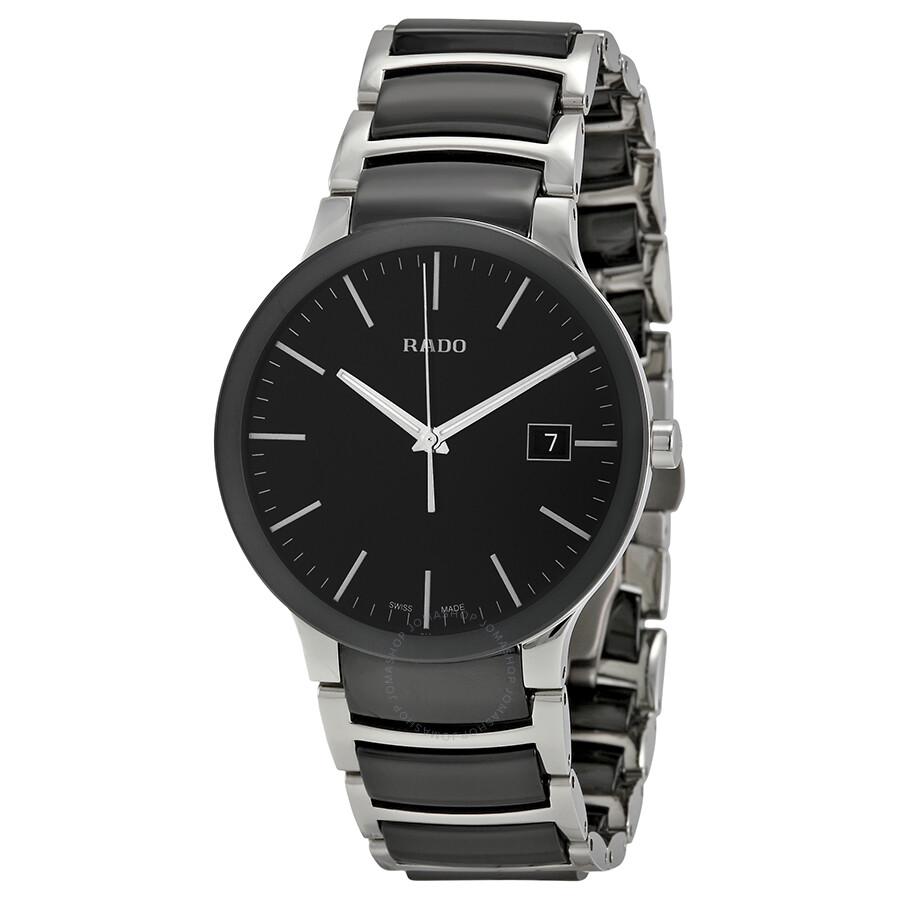 Rado centrix black dial stainless steel and black ceramic men 39 s watch r30934162 centrix rado for Ceramic man watch