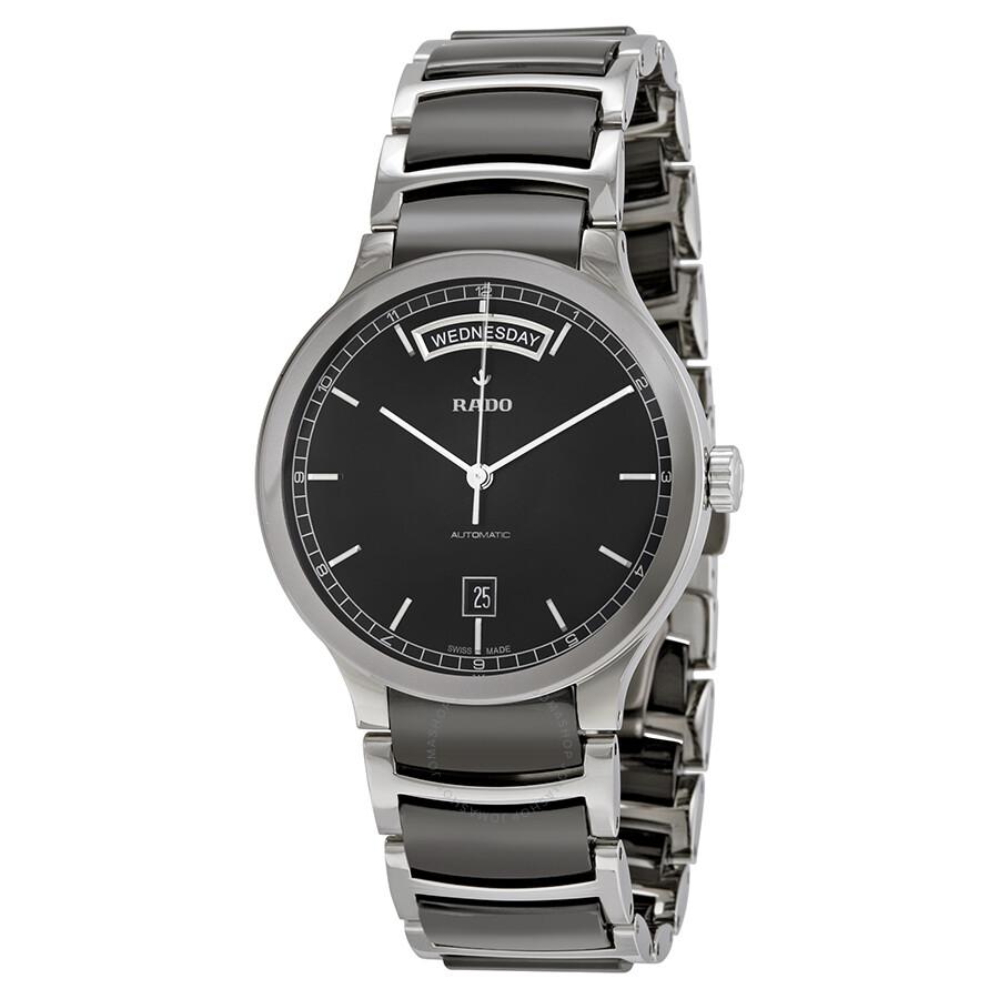 Rado centrix black dial black ceramic men 39 s watch r30156152 coupole rado watches jomashop for Ceramic man watch