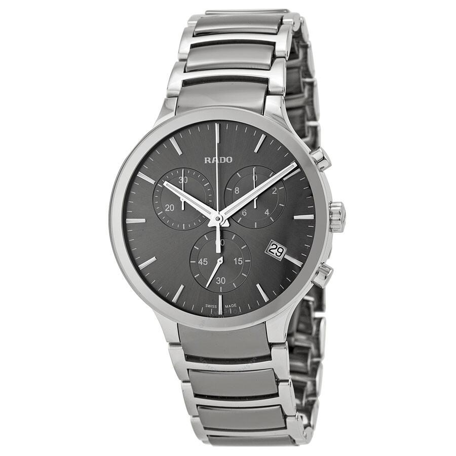 Rado centrix chronograph dark grey dial platinum tone ceramic men 39 s watch r30122122 centrix for Ceramic man watch