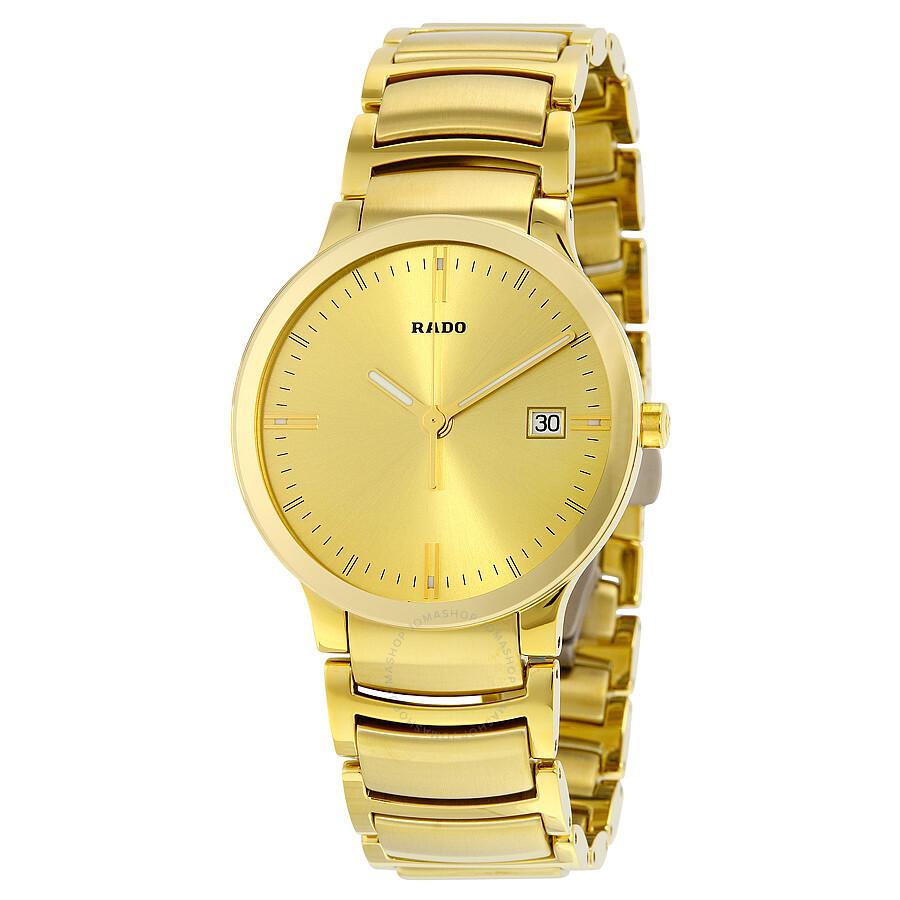 Rado centrix gold dial yellow gold plated men 39 s watch r30527253 centrix rado watches for Gold timepieces watch