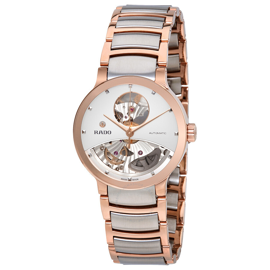 Centrix Open Heart Automatic Silver Skeleton Dial Ladies Watch R30248012