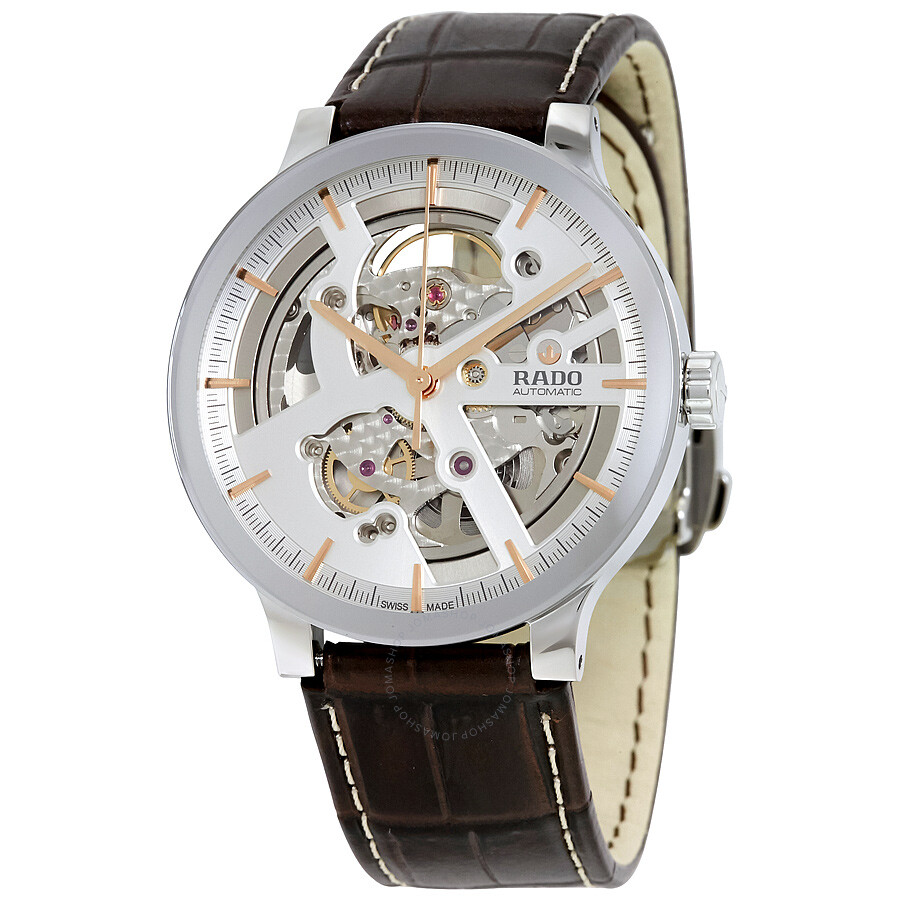rado centrix silver skeleton dial automatic men s watch r30179105
