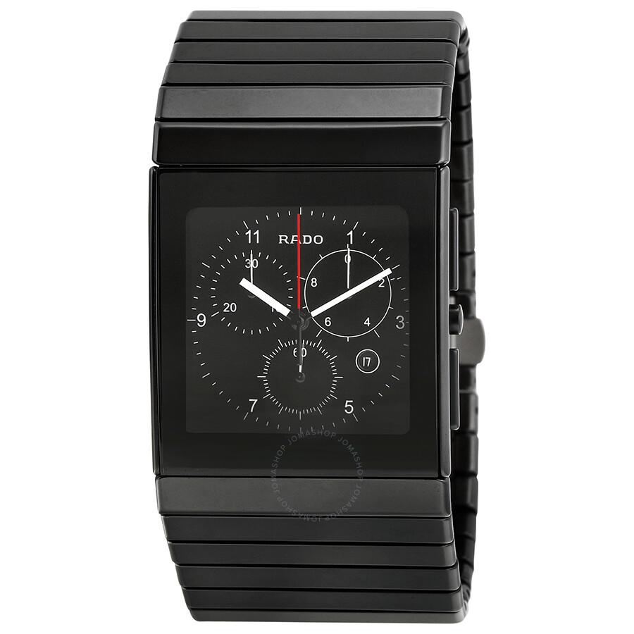 Rado ceramica chronograph black dial black ceramic men 39 s watch r21715162 ceramica rado for Ceramica chronograph