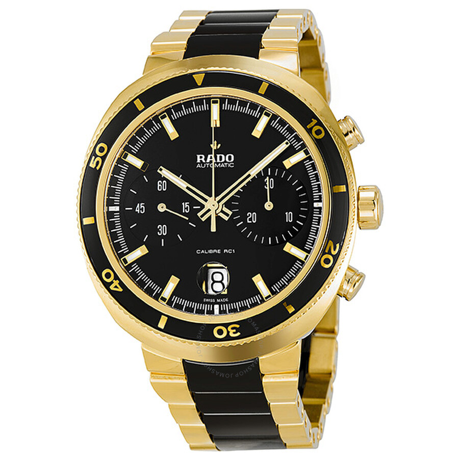 Rado d star chronograph automatic yellow gold pvd and black ceramic men 39 s watch r15967162 gold for Ceramic man watch