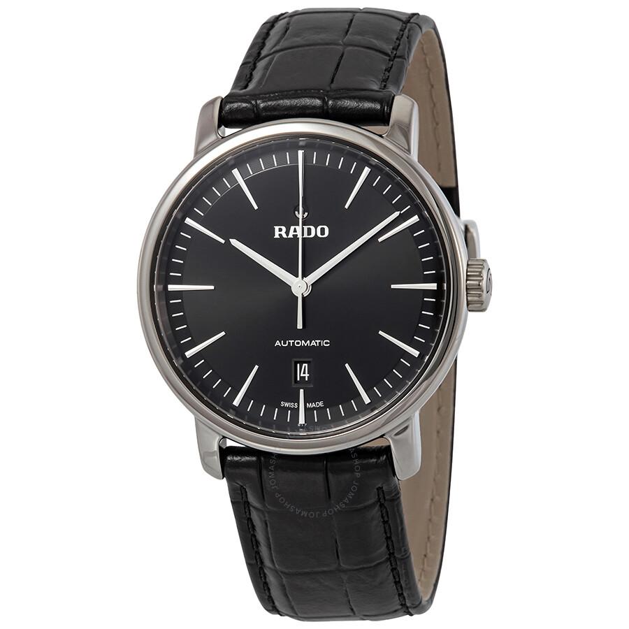 dbb5d7e9b Rado DiaMaster XL Black Dial Automatic Men's Leather Watch R14074175 ...
