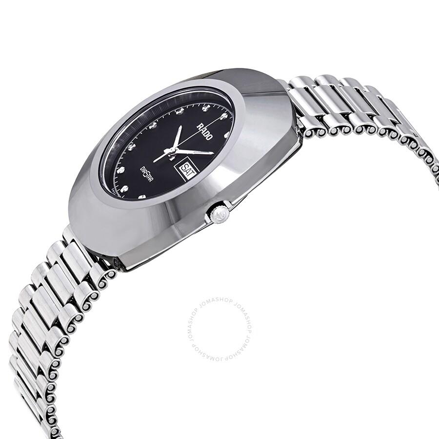 6572eb5f3199a ... Rado Diastar Black Dial Polished Stainless Steel Men's Watch R12391153  ...