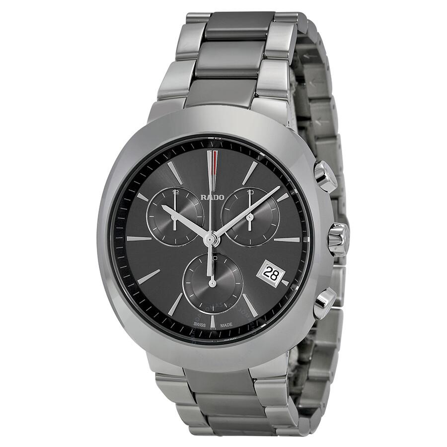 Rado d star chronograph grey dial two tone ceramic men 39 s watch r15937102 d star rado for Ceramic man watch