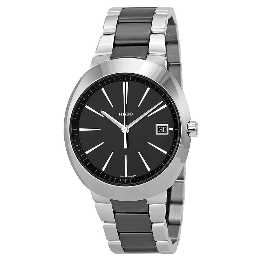 Rado d star xl black dial stainless steel black ceramic men 39 s watch r15943162 d star rado for Ceramic man watch