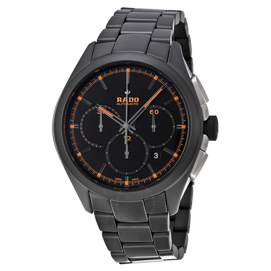 Rado hyperchrome automatic chronograph black dial black ceramic men 39 s watch r32525162 for Ceramic man watch
