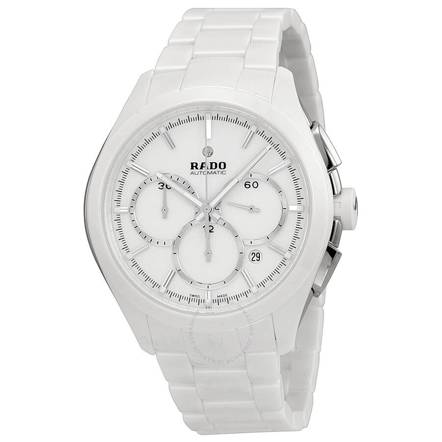 Rado hyperchrome automatic chronograph white dial white ceramic men 39 s watch r32274012 for Ceramic man watch