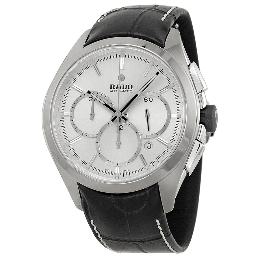 Rado hyperchrome automatic silver dial black leather men 39 s watch r32276105 hyperchrome rado for Leather watch for men