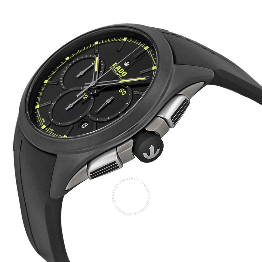 Rado hyperchrome chronograph black dial black rubber men 39 s watch r32525179 hyperchrome rado for Rubber watches