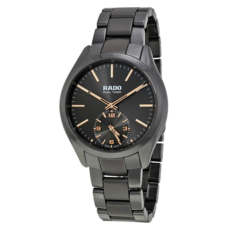 Rado hyperchrome dual timer xl touch grey ceramic men 39 s watch r32102172 hyperchrome rado for Ceramic man watch