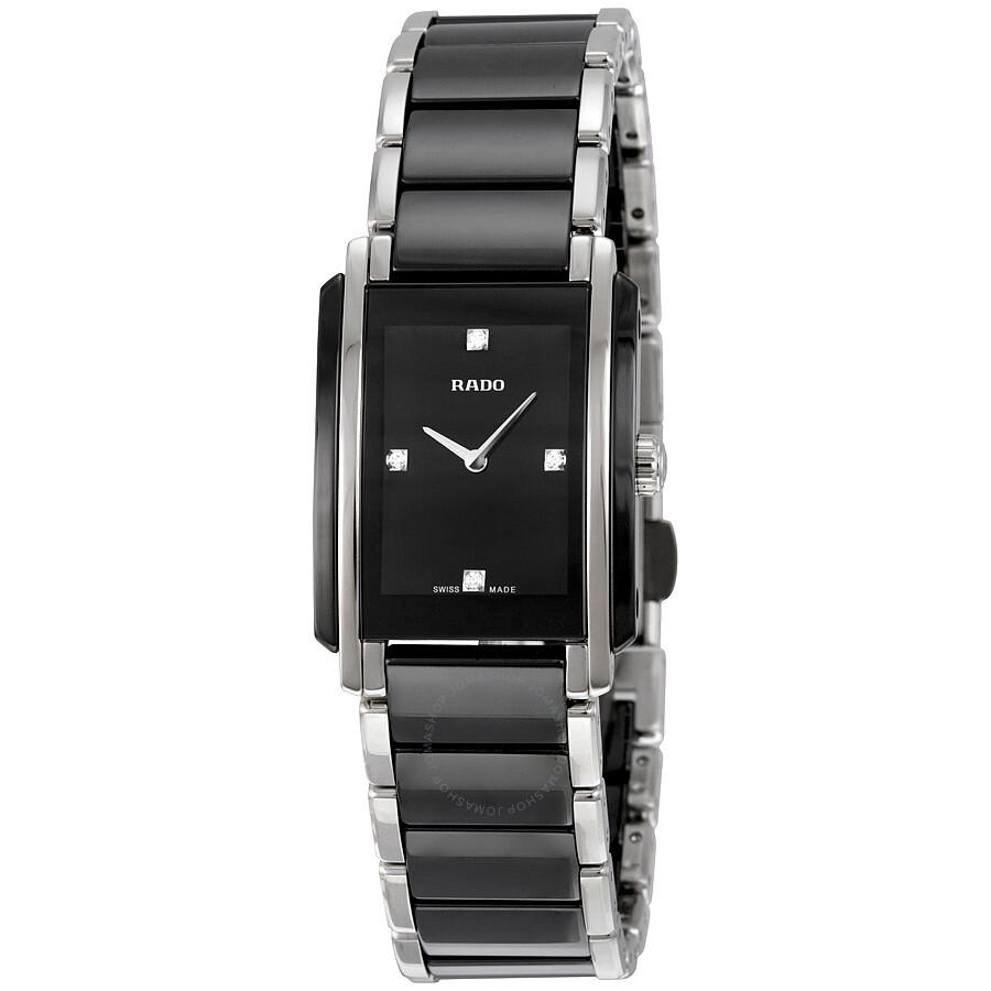f1f9edb92a2 Rado Integral Quartz Black Dial Black Ceramic and Stainless Steel Ladies  Watch R20613712 ...