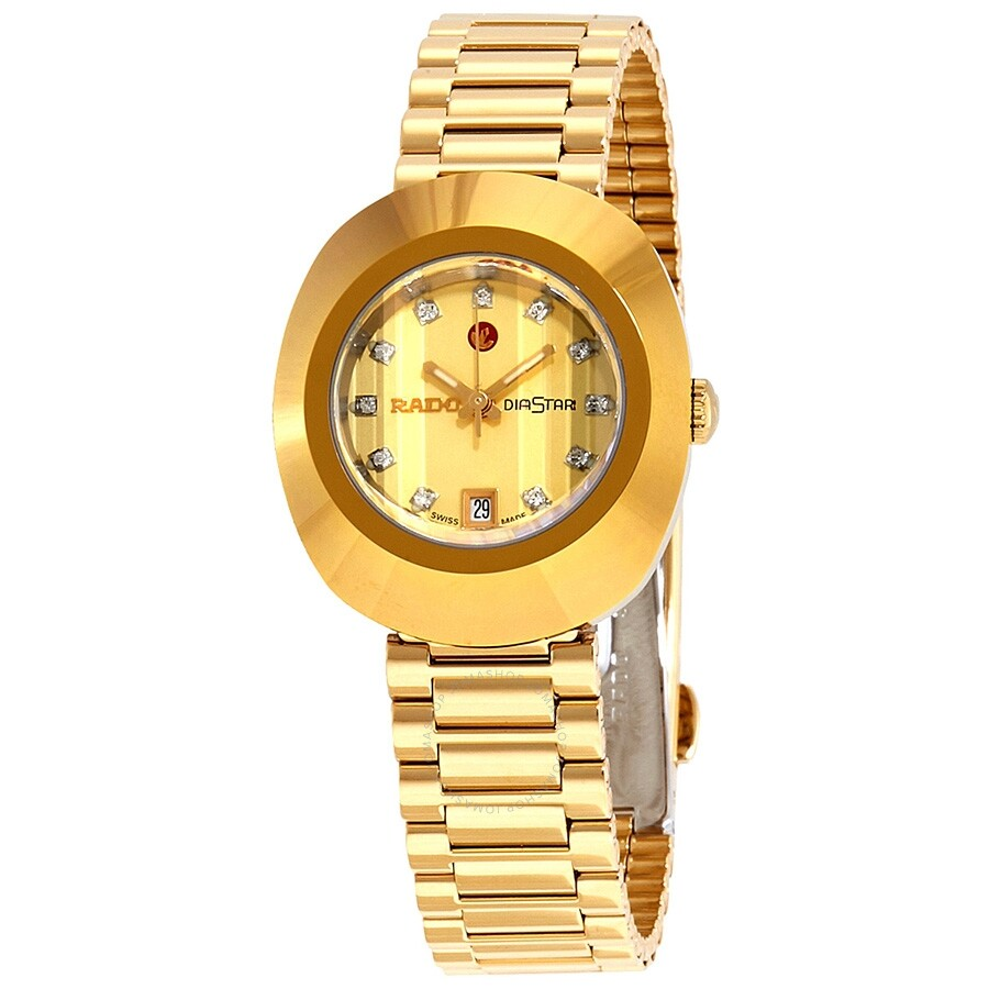 Rado Original Diastar Champagne Dial Ladies Watch R12416633 Gold Rado Watches Jomashop