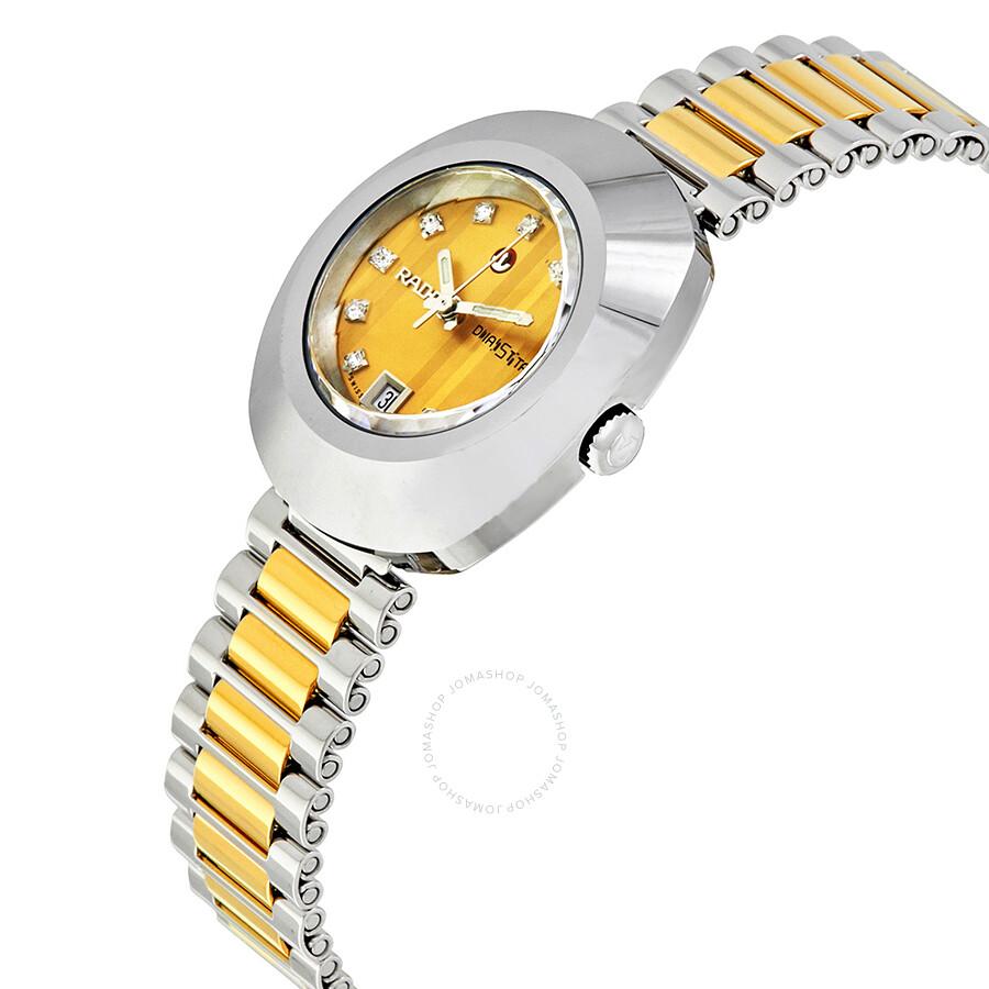Original Diastar Automatic Diamond Gold Dial Ladies Watch R12403633