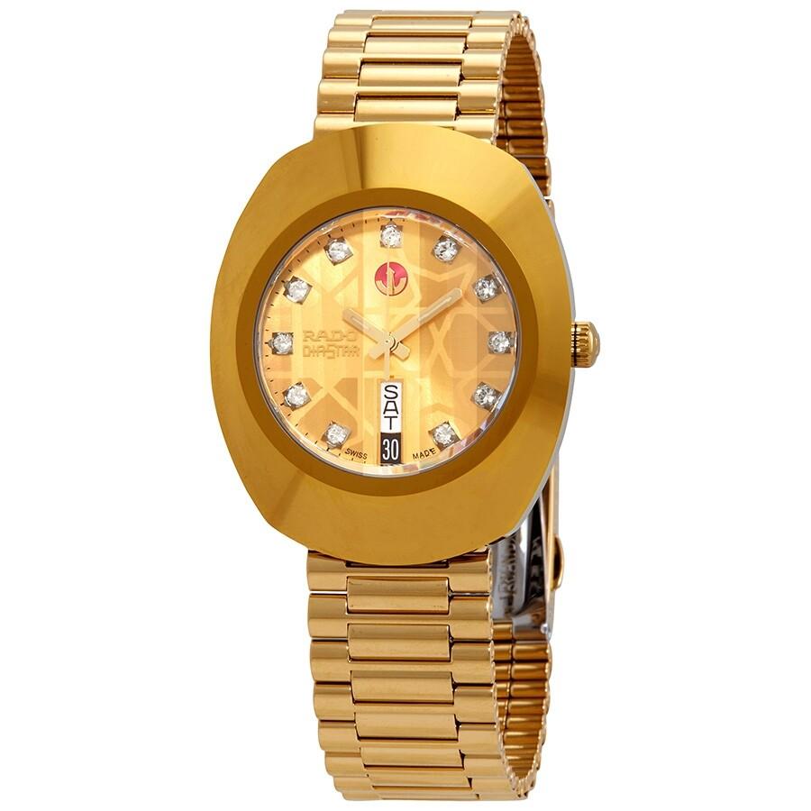 Rado The Original Automatic Gold Dial Yellow Gold Pvd Men S Watch R12413503 Original Rado Watches Jomashop