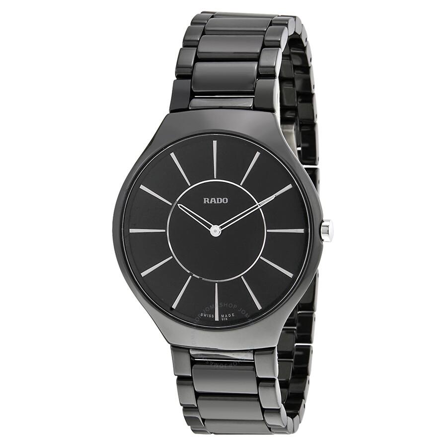 Rado thinline black dial ceramic men 39 s watch r27741162 true rado watches jomashop for Ceramic man watch