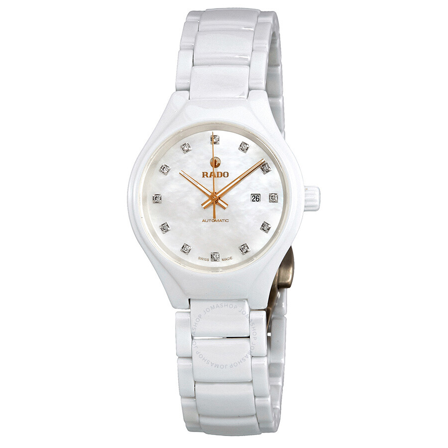 True Automatic Mother of Pearl Diamond Dial Ladies Ceramic Watch R27244902