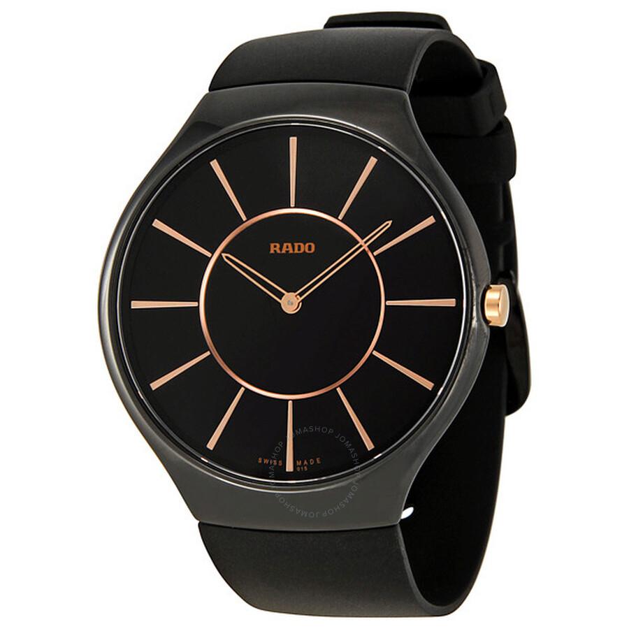 01e5237f1 Rado True Thinline Black Ceramic Unisex Watch R27741159 - True ...