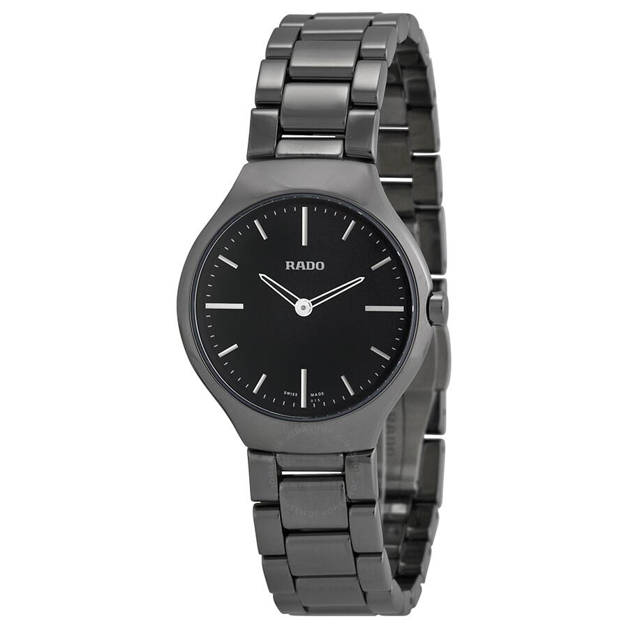 59346b992 Rado True Thinline Black Dial Platinum-Tone Ceramic Ladies Watch R27956152  ...
