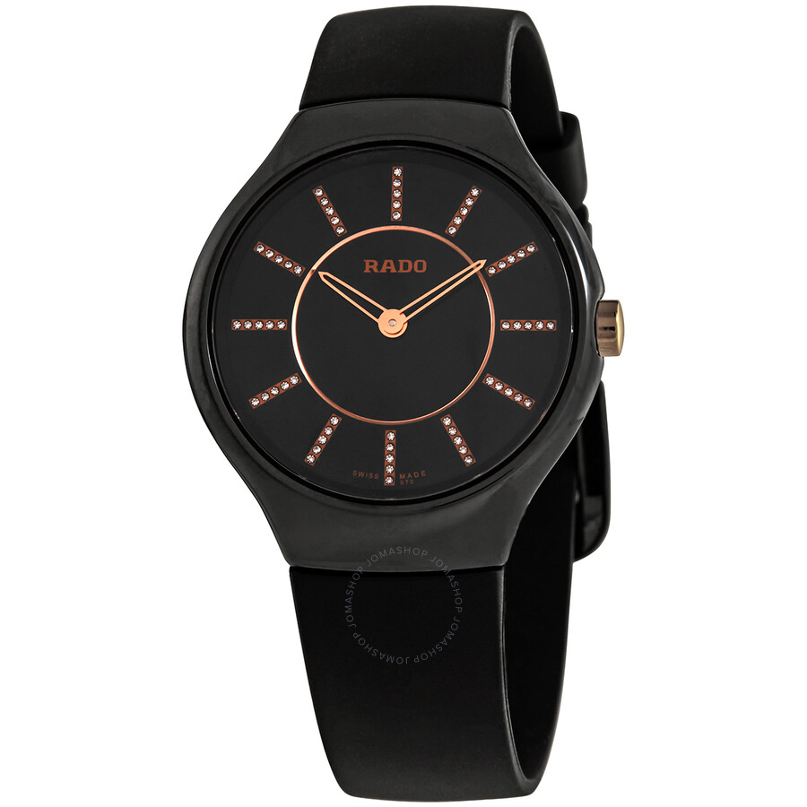 0512a0fd8 Rado True Thinline Black Diamond Dial Ladies Watch R27742709 - True ...
