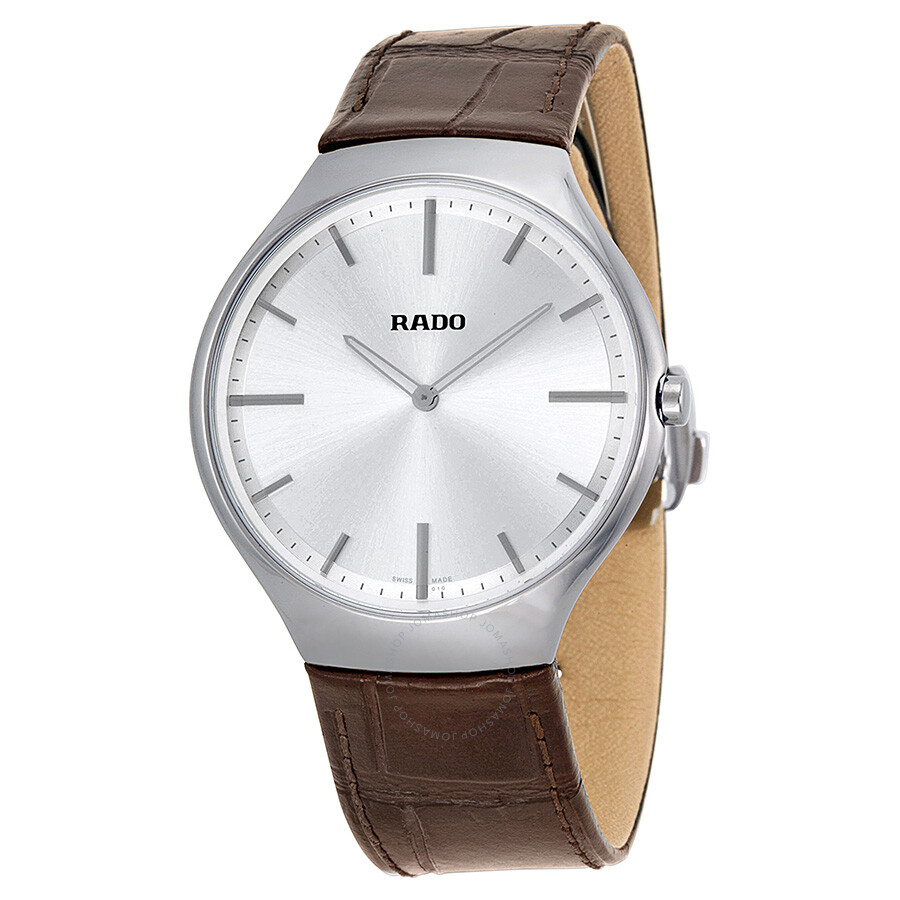 rado true thinline silver brown leather s