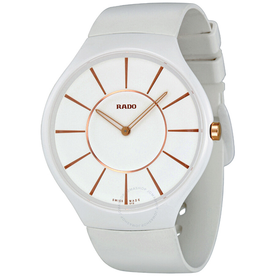 24adf4d2e Rado True Thinline White Dial Rubber Strap Ladies Watch R27957109 ...
