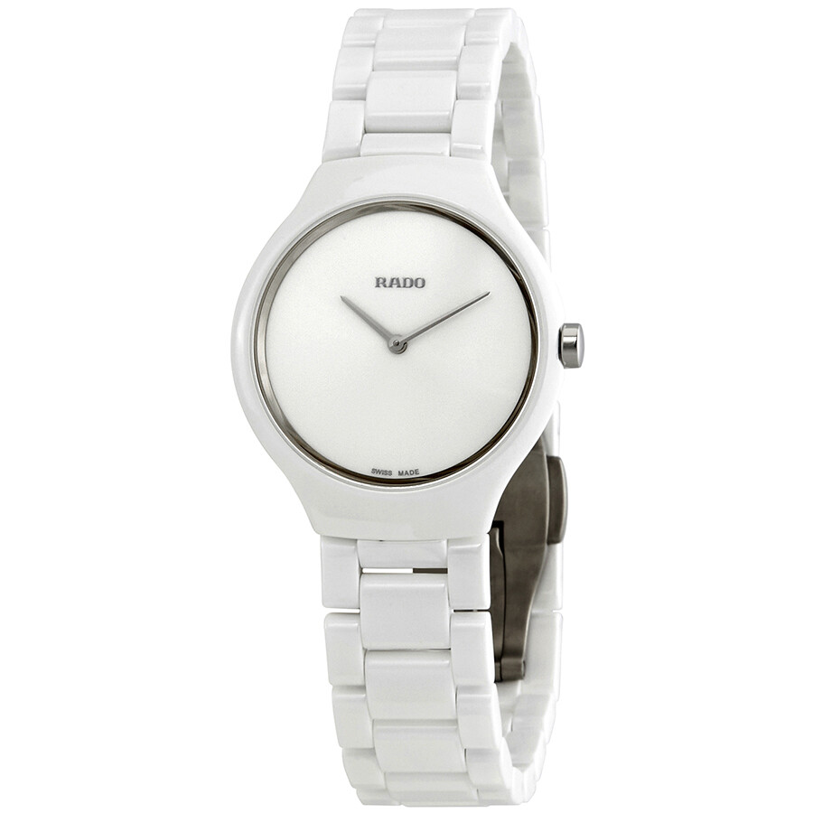 9f85ac72518 Rado True Thinline White Dial White Ceramic Ladies Watch R27958022 ...