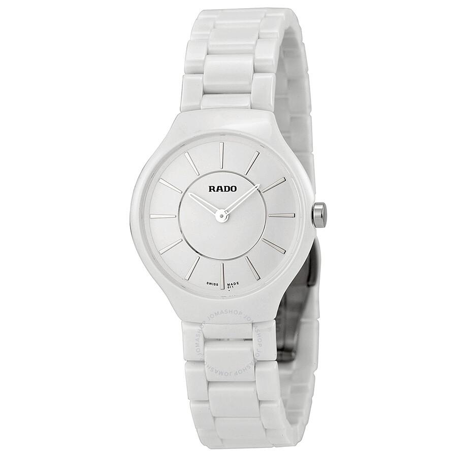 6ea9fb2b8 Rado True Thinline White Dial White Ceramic Watch R27958112 - True ...