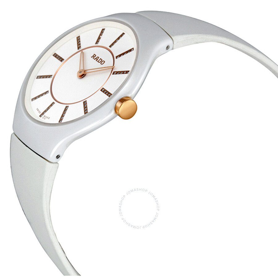 9e692352b ... Rado True Thinline White Diamond Dial Rubber Strap Ladies Watch  R27958709 ...