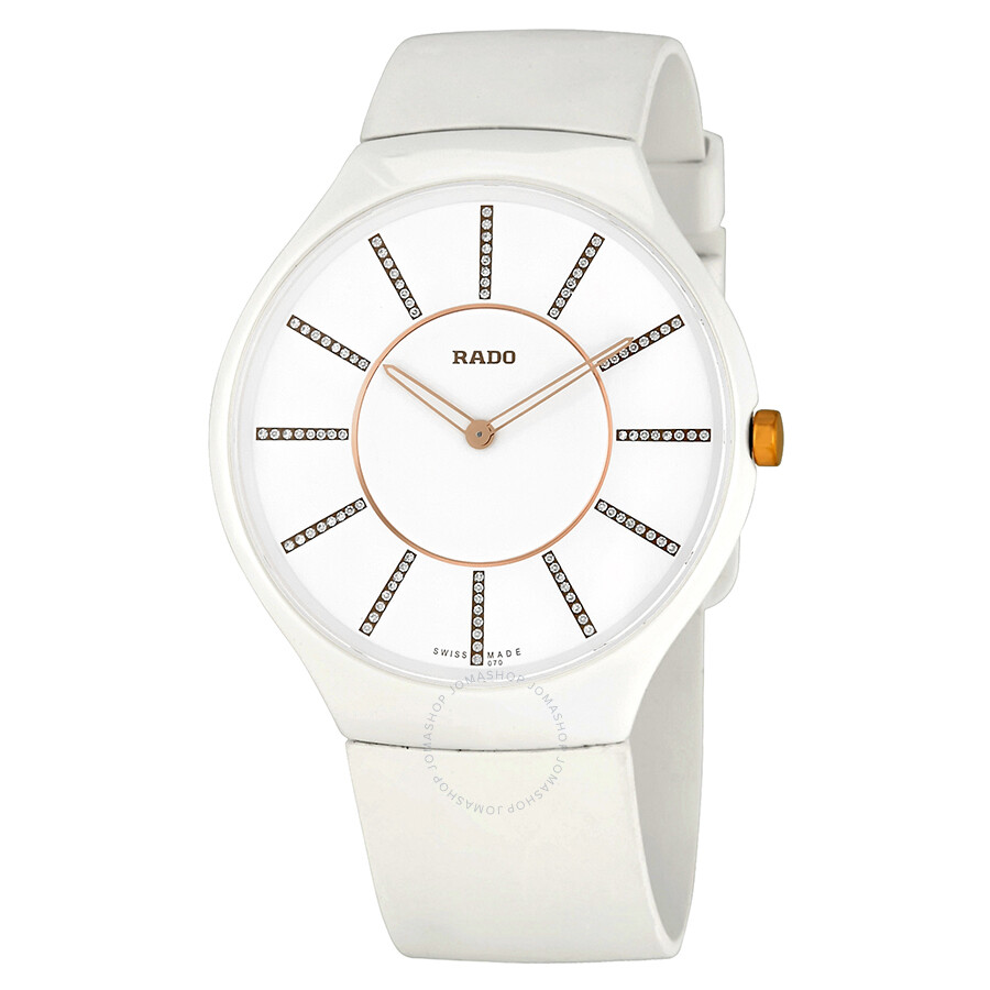 95a8d9be4 Rado True Thinline White Diamond Dial White Rubber Ladies Watch R27957709  ...