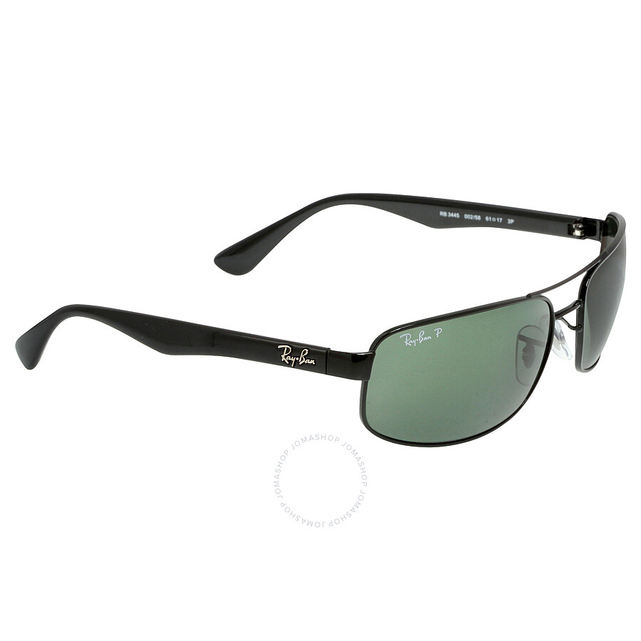 967e8448f1b ... Ray-Ban 61 mm Sunglasses - Black   Polarized Green Classic G-15 ...