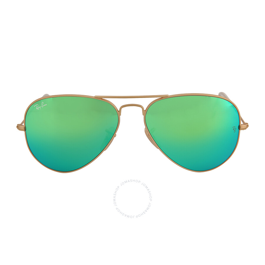 185c6b0776 Ray Ban Aviator Arista Green with Mirrored Lenses 58 mm Sunglasses