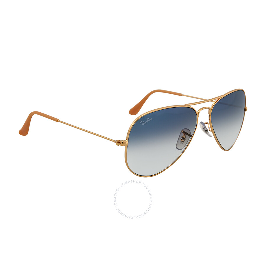 ray ban arista v5rm  Ray Ban Aviator Arista Light Blue Gradient Lenses 58mm Sunglasses  RB3025 001/3F 58-
