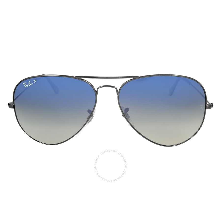 ray ban aviator blue gradient grey polarized