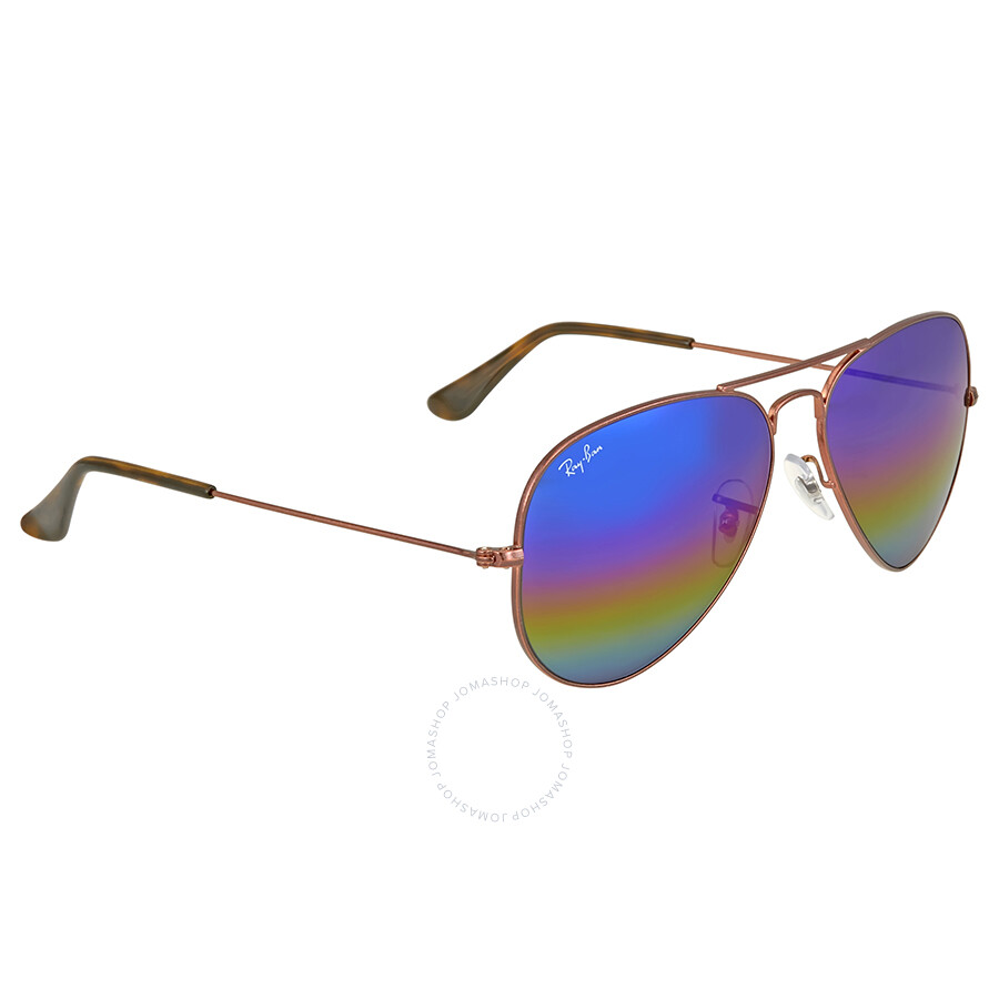 8bb3e0f92f ... Ray Ban Aviator Blue Rainbow Flash Men s Sunglasses RB3025 9019C2 58 ...