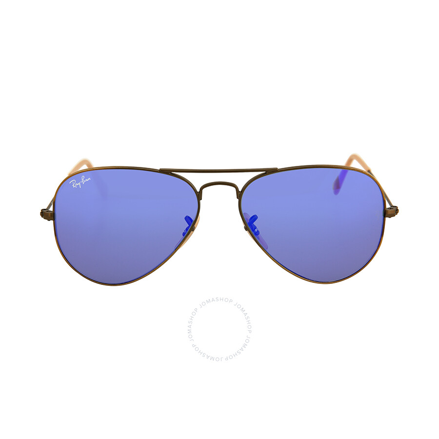 110fc9baebc97 Ray Ban Aviator Bronze Metal Blue Violet Mirror Non-Polarized Crystal Lenses  55mm Sunglasses Item No. RB3025-55-167-68