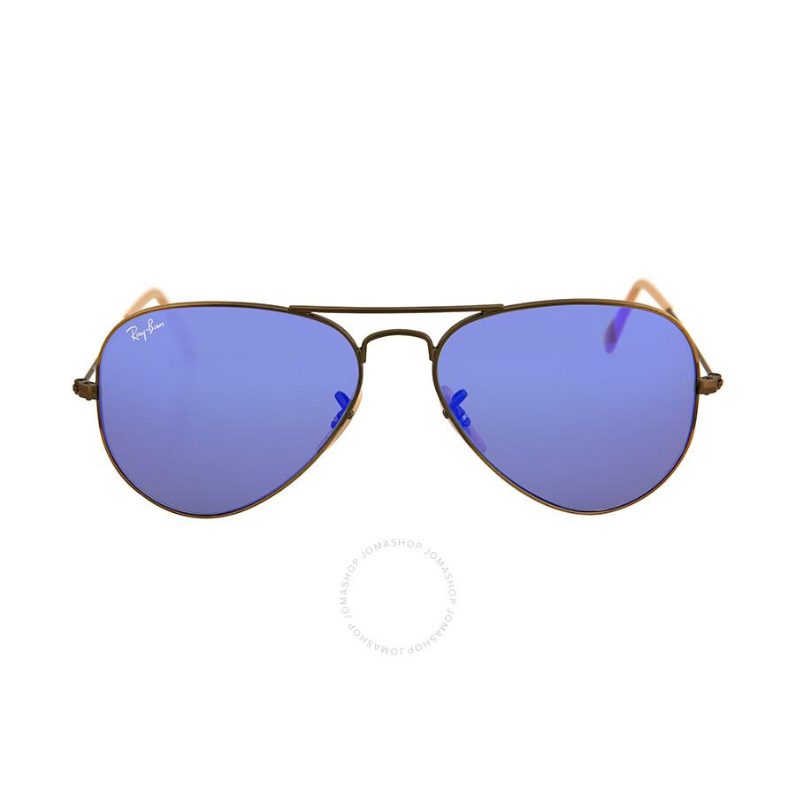 blue aviator ray bans  Ray Ban Aviator Bronze Metal Blue Violet Mirror Non-Polarized ...